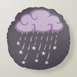 Purple Curls Rain Cloud With Falling Stars Round Pillow