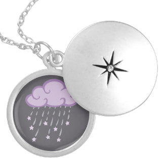 Purple Curls Rain Cloud With Falling Stars Silver Plated Necklace