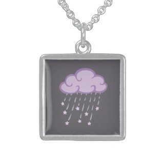 Purple Curls Rain Cloud With Falling Stars Sterling Silver Necklace