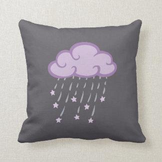 Purple Curls Rain Cloud With Falling Stars Throw Pillow