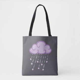 Purple Curls Rain Cloud With Falling Stars Tote Bag