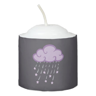 Purple Curls Rain Cloud With Falling Stars Votive Candle