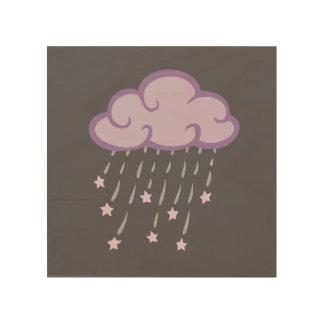 Purple Curls Rain Cloud With Falling Stars Wood Wall Art