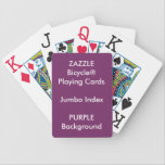 "PURPLE Custom Bicycle&#174; Jumbo Index Playing Cards<br><div class=""desc"">ZAZZLE Custom Printed Bicycle&#174; Jumbo Index Playing Cards Template Blank (PURPLE background color).</div>"