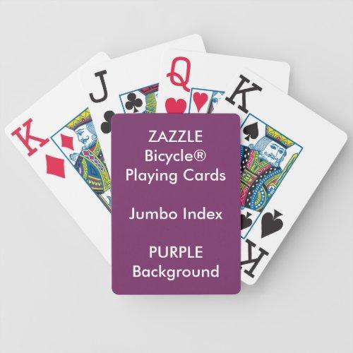 PURPLE Custom Bicycle Jumbo Index Playing Cards