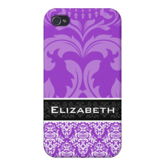 Purple Custom Damask iPhone 4 Case With Your Name
