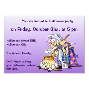 purple custom halloween invitations purple witch