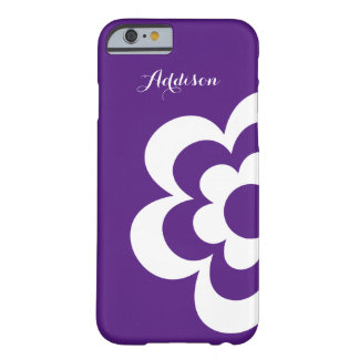 Purple Custom iPhone 6 Cases With White Flower Barely There iPhone 6 Case
