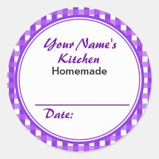 Purple Custom Jar Labels Round Sticker Custom Name