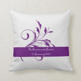 Purple custom  Leaf Wedding gift Throw Pillow