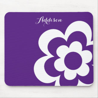 Purple Custom Mouse Pads With White Flower