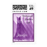 Purple CUSTOM NAME Bridesmaid Luncheon Stamp