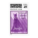 Purple CUSTOM NAME Bridesmaid Luncheon Stamps