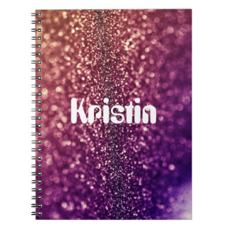 Purple custom named glitter school notebook