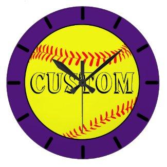 Purple Custom Softball Wall Clock