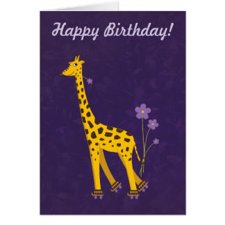 Purple Customizable Text Funny Giraffe Birthday Card