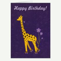Purple Customizable Text Funny Giraffe Birthday Greeting Card