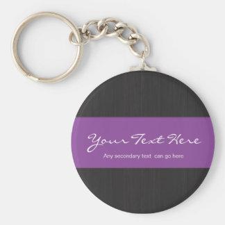 Purple Customizable Woodgrain Keychain