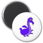 Purple Cute Cuddly Dragon 2 Inch Round Magnet