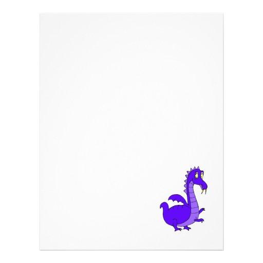 Purple Cute Cuddly Dragon Flyer Design