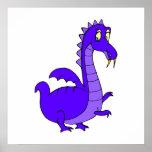 Purple Cute Cuddly Dragon Posters