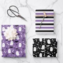 Purple Cute Ghosts & Bats Orange Halloween Wrapping Paper Sheets