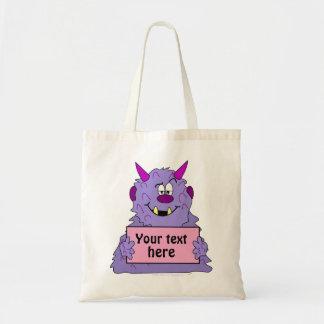 Purple Cute Monster Customizable Template Canvas Bag