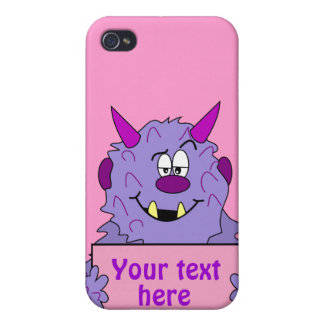 Purple Cute Monster Customizable Template iPhone 4 Covers