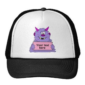 Purple Cute Monster Customizable Template Trucker Hat
