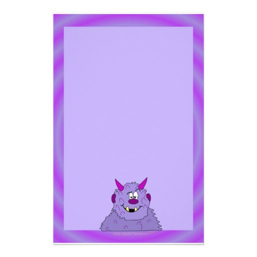 Purple Cute Monster Kids Stationery Paper Template