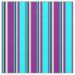 [ Thumbnail: Purple, Cyan, Black, and Mint Cream Stripes Fabric ]