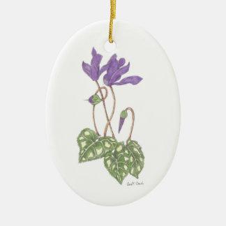 Purple Cyclamen Ceramic Ornament