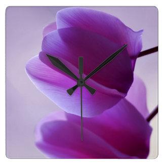 Purple Cyclamen Square Wall Clock