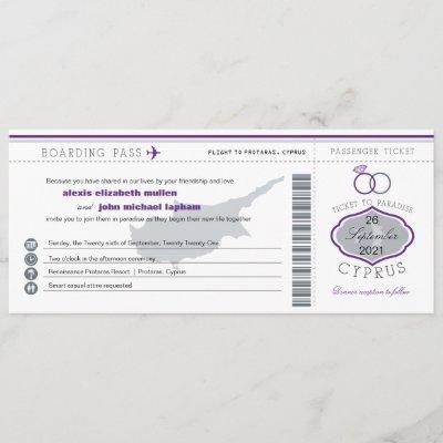 Purple Cyprus Boarding Pass Wedding Invitation
