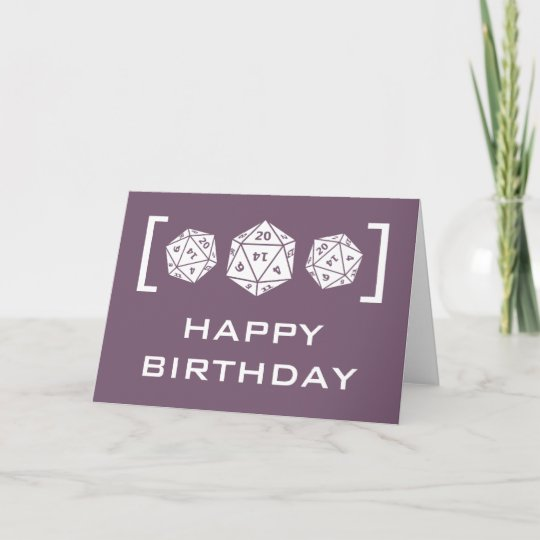 Purple D20 Dice Gamer Birthday Card Zazzle