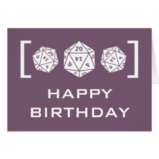 Purple D20 Dice Gamer Birthday Card