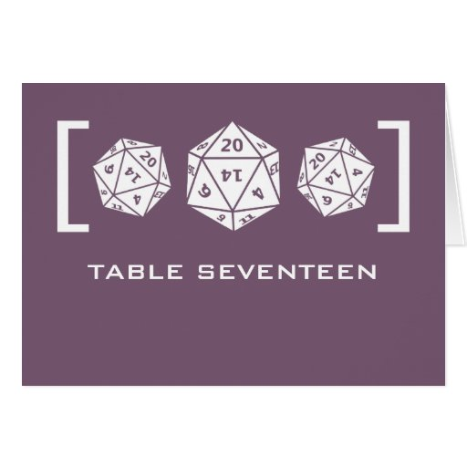 Purple D20 Dice Gamer Table Number Card