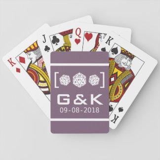 Purple D20 Dice Gamer Wedding Playing Cards