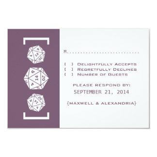 Purple D20 Dice Gamer Wedding Response Card Custom Invitation