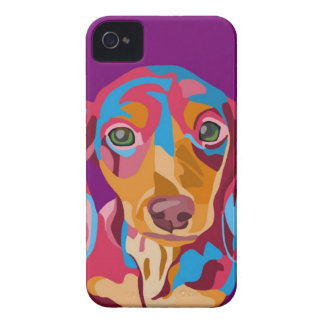 Purple Dachshund Abstract iPhone 4 Case-Mate Case