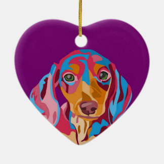 Purple Dachshund Ceramic Ornament