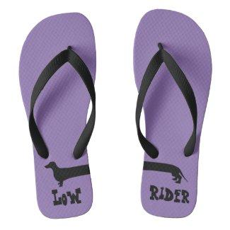 Purple Dachshund Low Rider Flip Flops