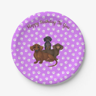 Purple Dachshund Party Plates