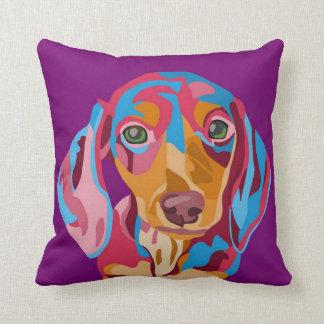 Purple Dachshund Throw Pillow