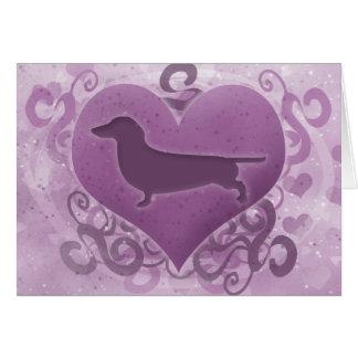 Purple Dachshund Valentine's Day Card