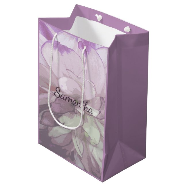 Purple Dahlia Design Gift Bag
