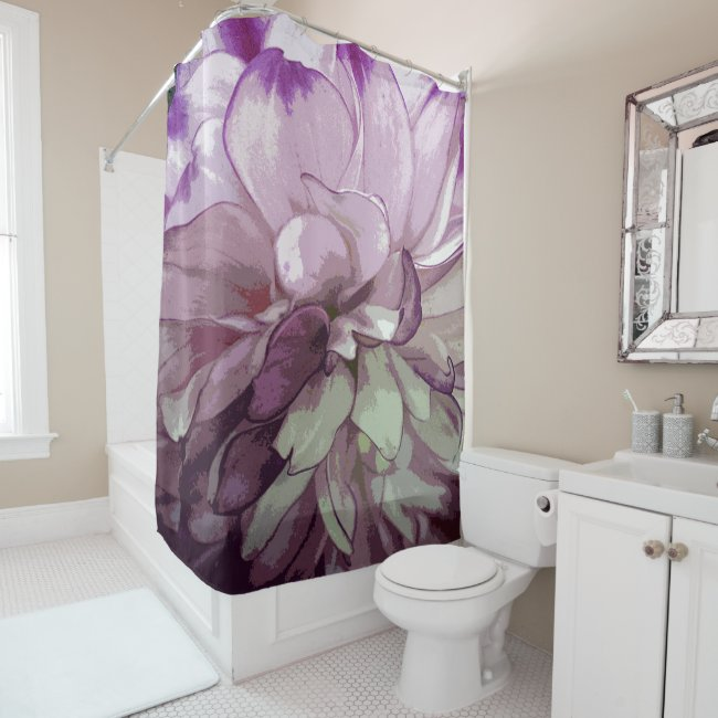 Purple Dahlia Design Shower Curtain