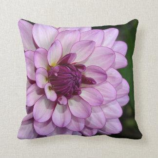 Purple dahlia flower blossoms throw pillow