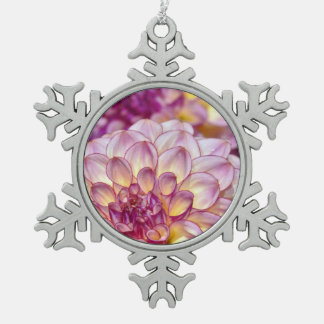 Purple dahlia flower christmas ornament