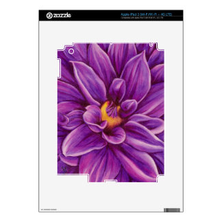 Purple Dahlia Flower Original Art Skins iPad 3 Decal